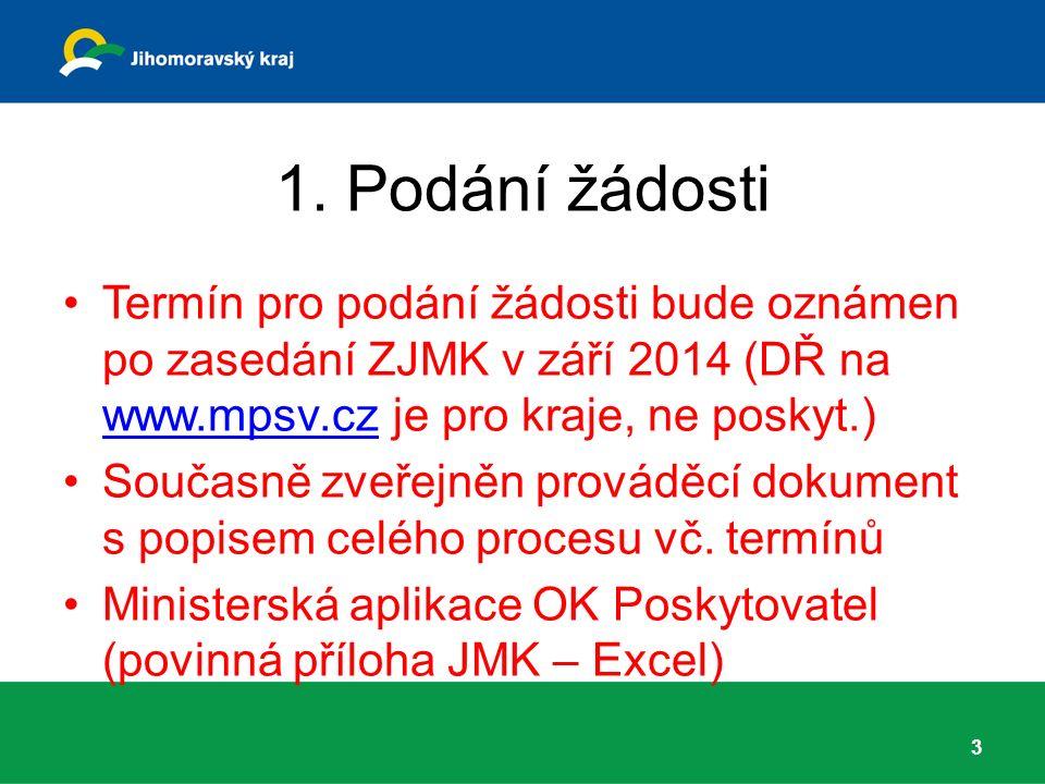 1. Podání žádosti Termín pro podání žádosti bude oznámen po zasedání ZJMK v září 2014 (DŘ na www.mpsv.cz je pro kraje, ne poskyt.) www.mpsv.cz Současn