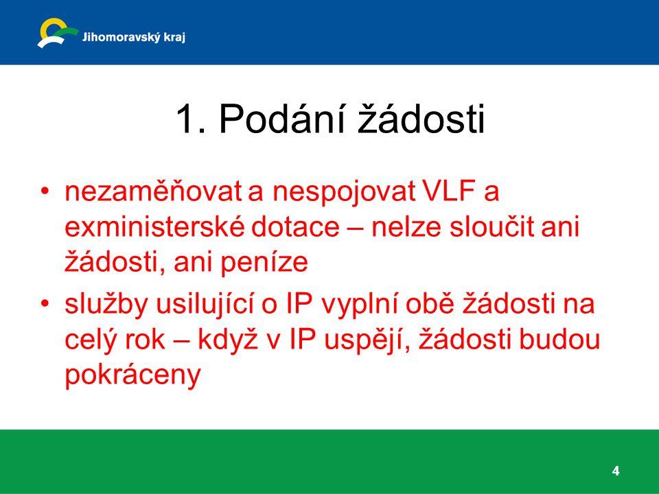 1. Podání žádosti nezaměňovat a nespojovat VLF a exministerské dotace – nelze sloučit ani žádosti, ani peníze služby usilující o IP vyplní obě žádosti