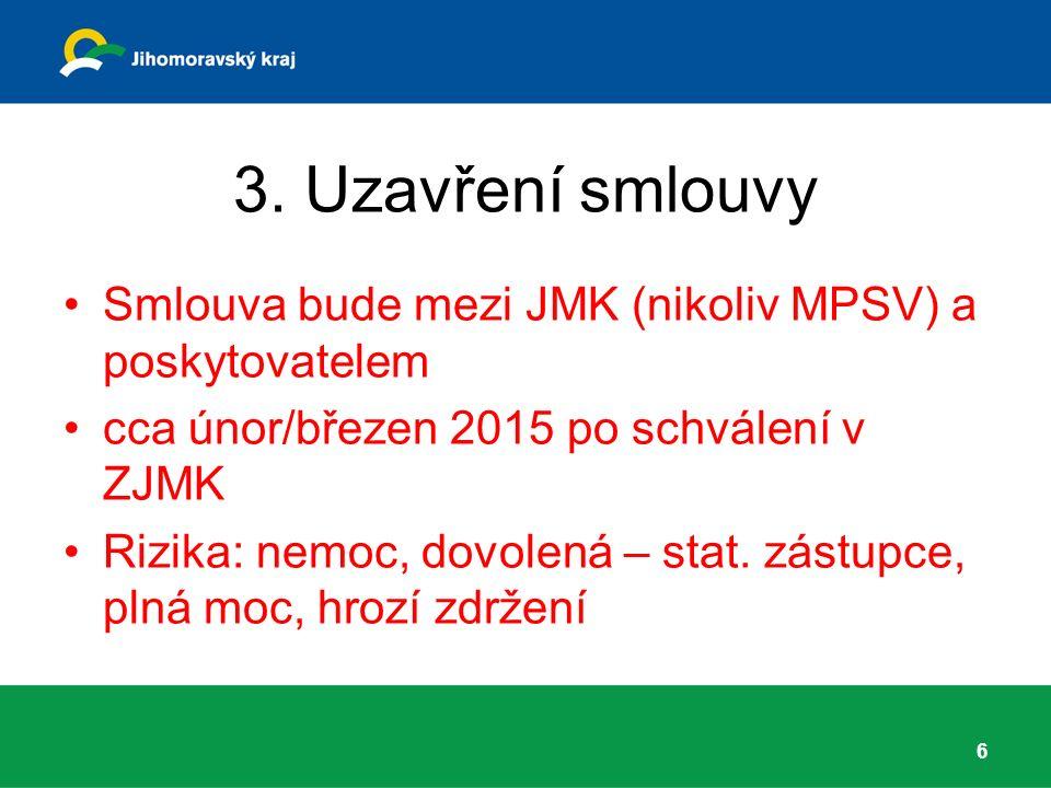 3. Uzavření smlouvy Smlouva bude mezi JMK (nikoliv MPSV) a poskytovatelem cca únor/březen 2015 po schválení v ZJMK Rizika: nemoc, dovolená – stat. zás