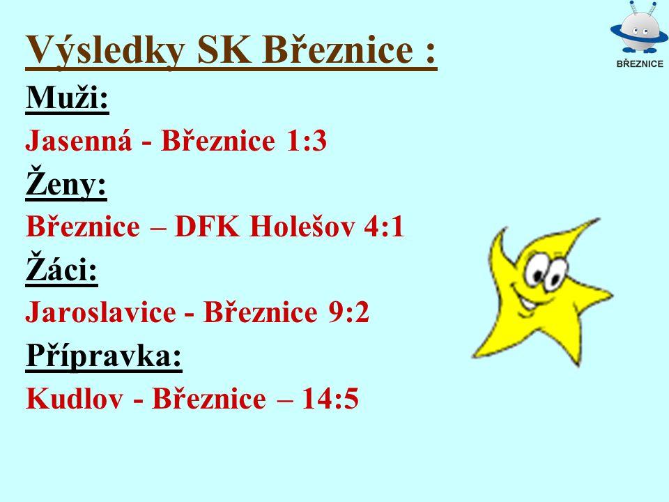 Výsledky SK Březnice : Muži: Jasenná - Březnice 1:3 Ženy: Březnice – DFK Holešov 4:1 Žáci: Jaroslavice - Březnice 9:2 Přípravka: Kudlov - Březnice – 1
