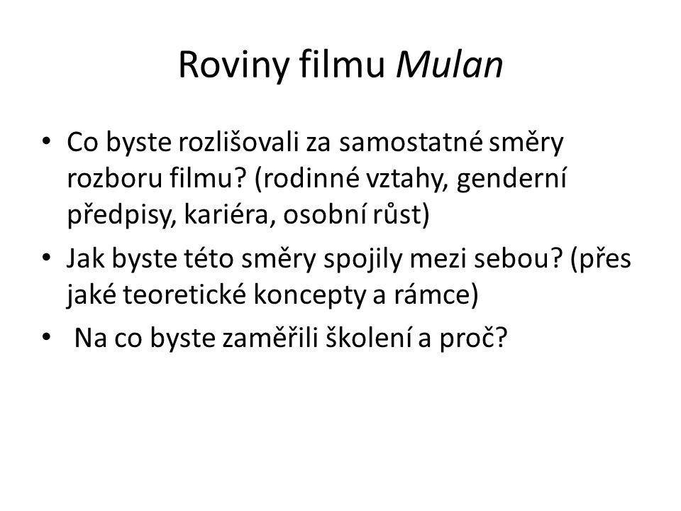 Roviny filmu Mulan Co byste rozlišovali za samostatné směry rozboru filmu? (rodinné vztahy, genderní předpisy, kariéra, osobní růst) Jak byste této sm