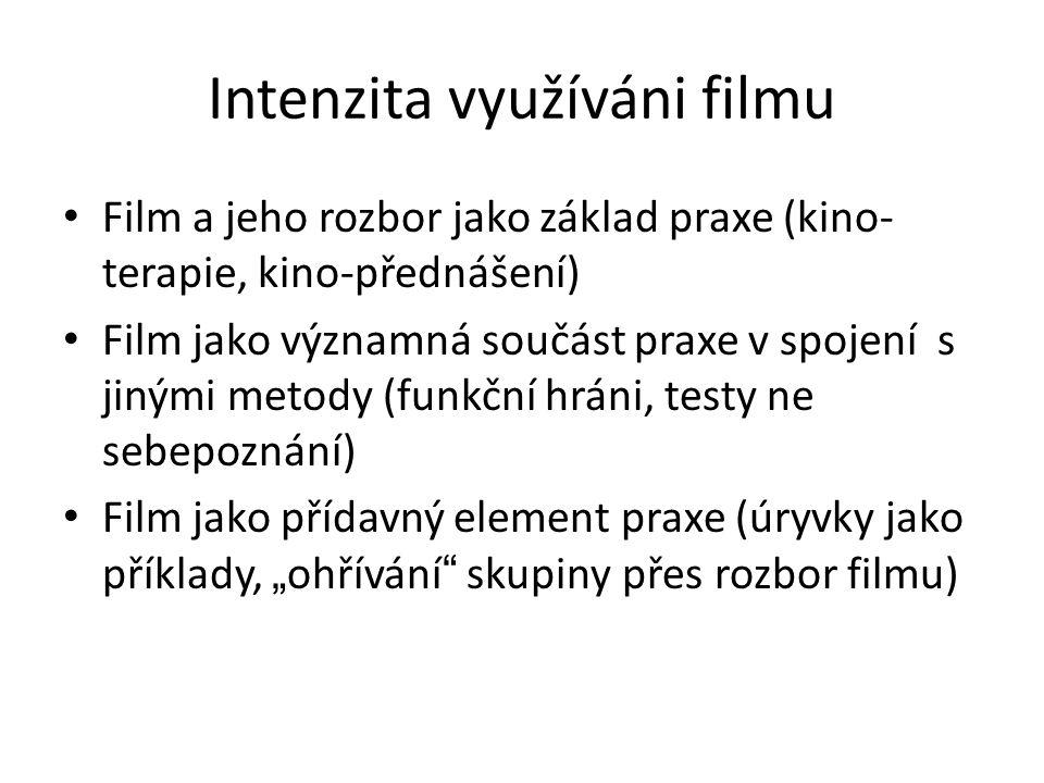 """Intenzita využíváni filmu Film a jeho rozbor jako základ praxe (kino- terapie, kino-přednášení) Film jako významná součást praxe v spojení s jinými metody (funkční hráni, testy ne sebepoznání) Film jako přídavný element praxe (úryvky jako příklady, """" ohřívání skupiny přes rozbor filmu)"""