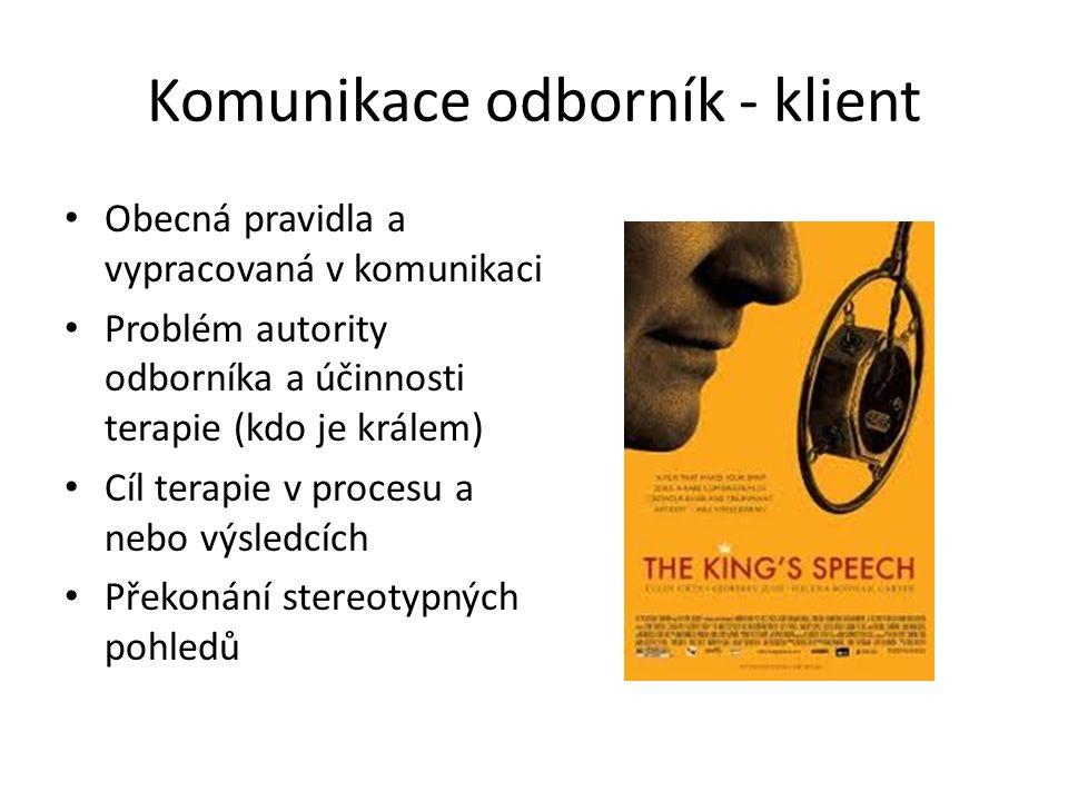 Komunikace odborník - klient Obecná pravidla a vypracovaná v komunikaci Problém autority odborníka a účinnosti terapie (kdo je králem) Cíl terapie v procesu a nebo výsledcích Překonání stereotypných pohledů