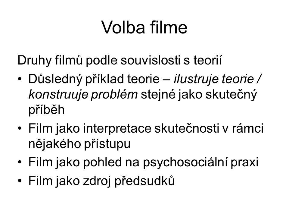 Volba filme Druhy filmů podle souvislosti s teorií Důsledný příklad teorie – ilustruje teorie / konstruuje problém stejné jako skutečný příběh Film jako interpretace skutečnosti v rámci nějakého přístupu Film jako pohled na psychosociální praxi Film jako zdroj předsudků