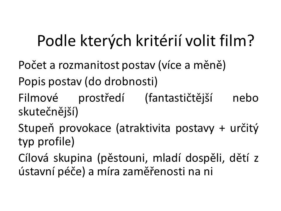 Podle kterých kritérií volit film? Počet a rozmanitost postav (více a měně) Popis postav (do drobnosti) Filmové prostředí (fantastičtější nebo skutečn