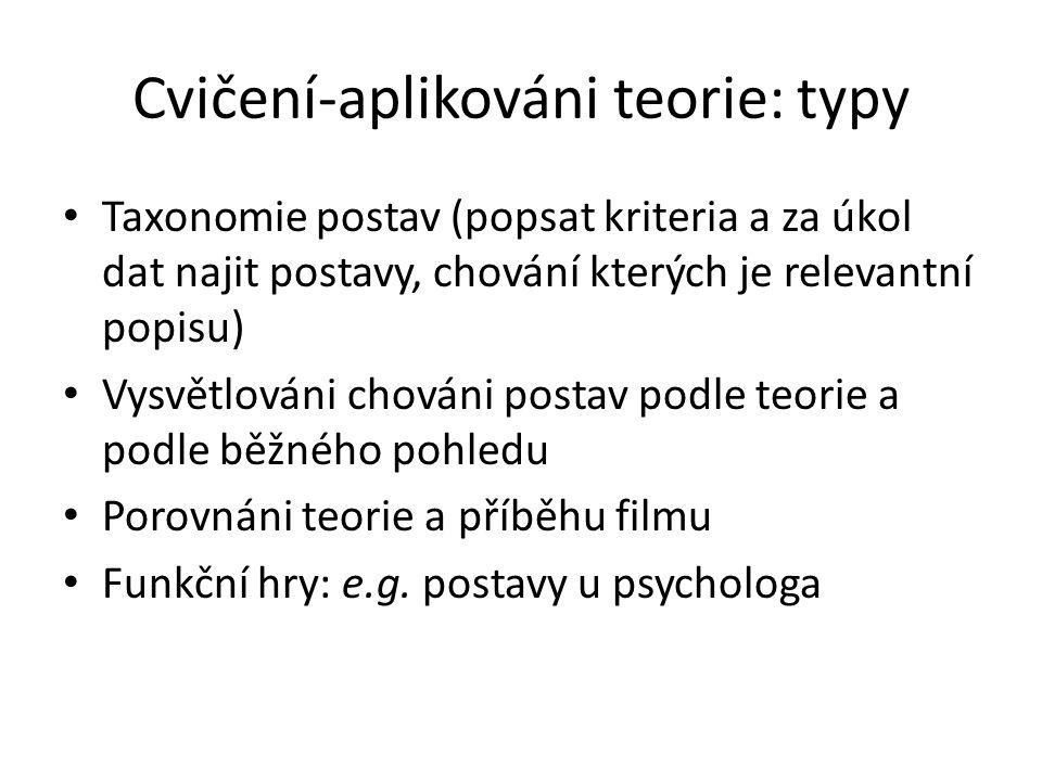 Cvičení-aplikováni teorie: typy Taxonomie postav (popsat kriteria a za úkol dat najit postavy, chování kterých je relevantní popisu) Vysvětlováni chov