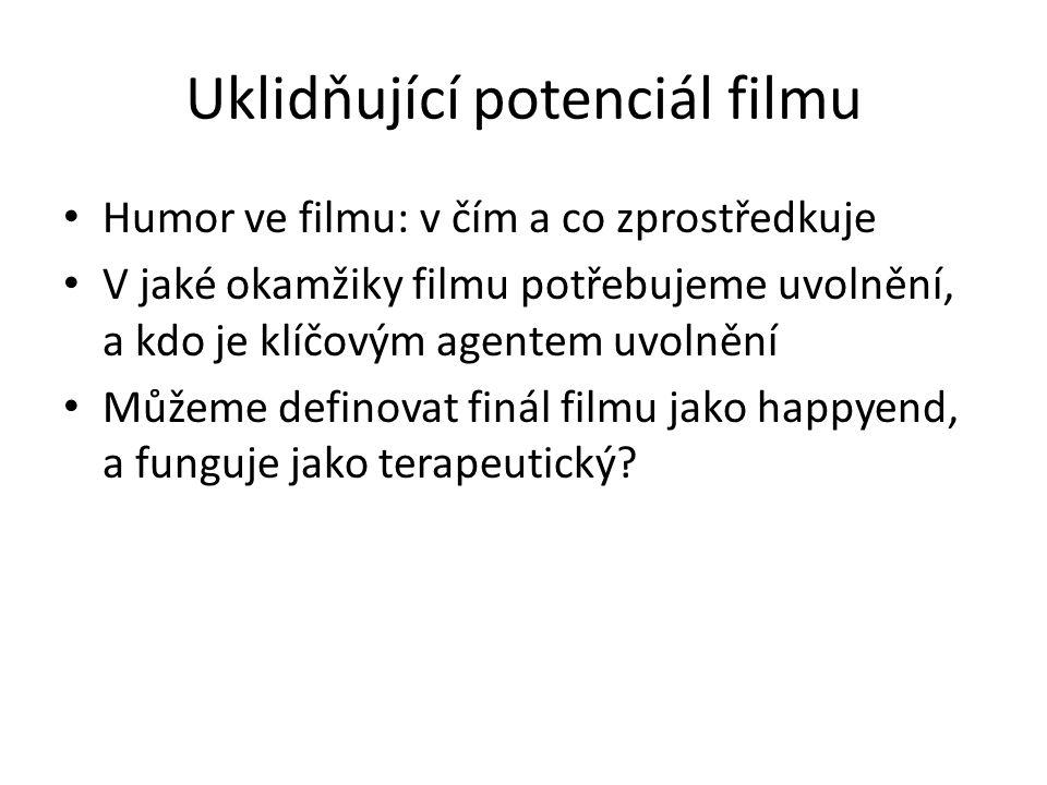 Uklidňující potenciál filmu Humor ve filmu: v čím a co zprostředkuje V jaké okamžiky filmu potřebujeme uvolnění, a kdo je klíčovým agentem uvolnění Můžeme definovat finál filmu jako happyend, a funguje jako terapeutický?