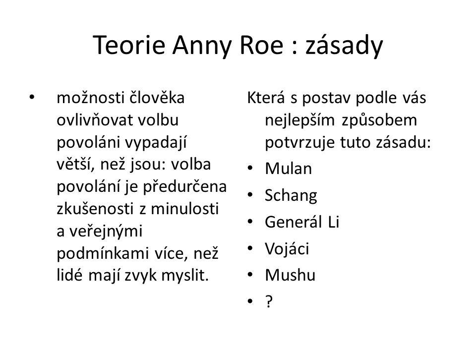 Teorie Anny Roe : zásady možnosti člověka ovlivňovat volbu povoláni vypadají větší, než jsou: volba povolání je předurčena zkušenosti z minulosti a ve
