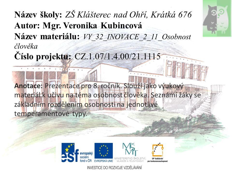 Název školy: ZŠ Klášterec nad Ohří, Krátká 676 Autor: Mgr. Veronika Kubincová Název materiálu: VY_32_INOVACE_2_11_Osobnost člověka Číslo projektu: CZ.