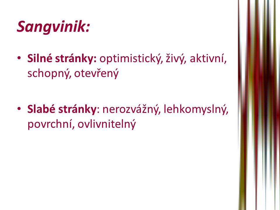 Sangvinik: Silné stránky: optimistický, živý, aktivní, schopný, otevřený Slabé stránky: nerozvážný, lehkomyslný, povrchní, ovlivnitelný