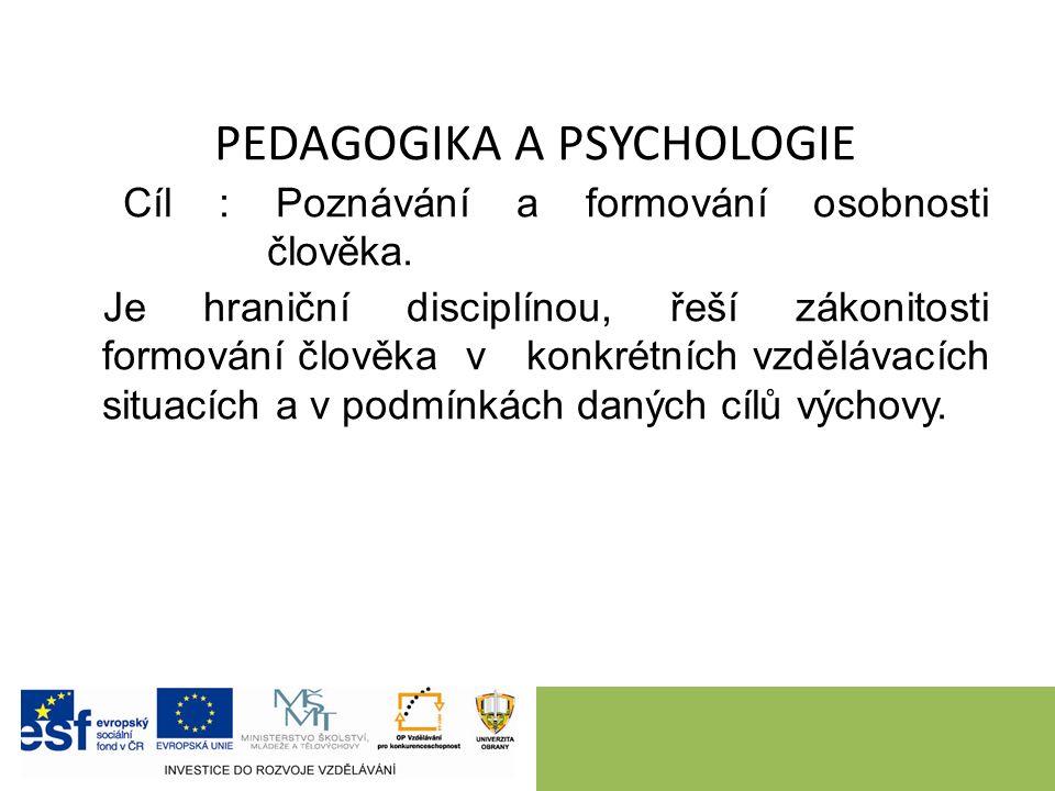PEDAGOGIKA A PSYCHOLOGIE Cíl : Poznávání a formování osobnosti člověka.