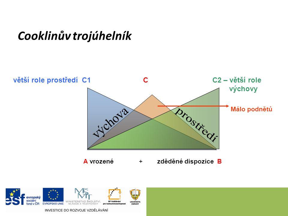Cooklinův trojúhelník větší role prostředí C1 C C2 – větší role výchovy A vrozené + zděděné dispozice B Málo podnětů