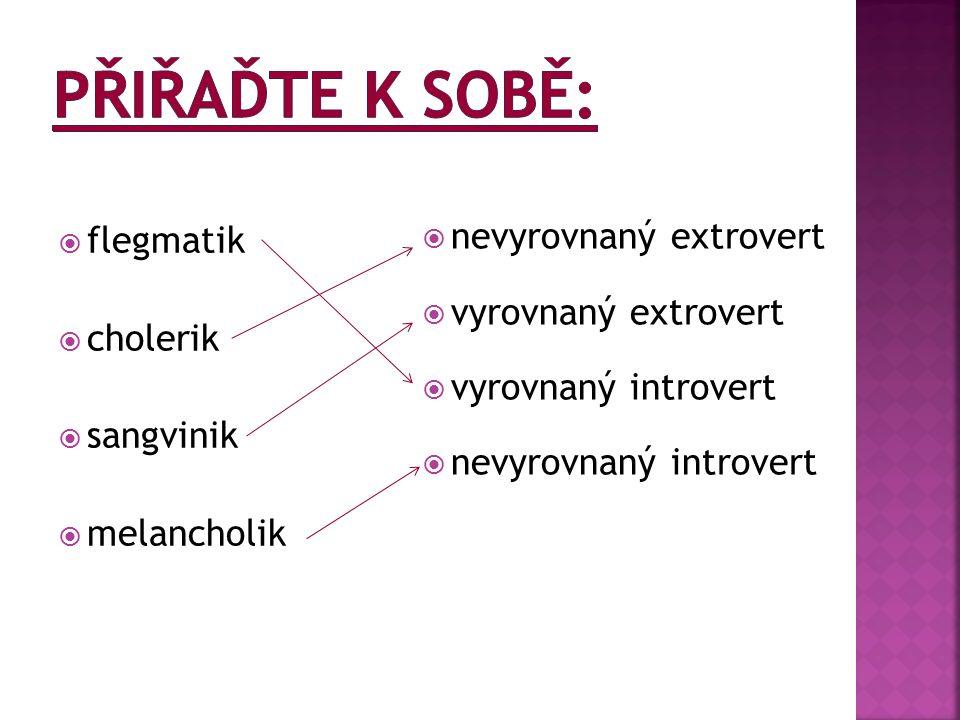  flegmatik  cholerik  sangvinik  melancholik  nevyrovnaný extrovert  vyrovnaný extrovert  vyrovnaný introvert  nevyrovnaný introvert