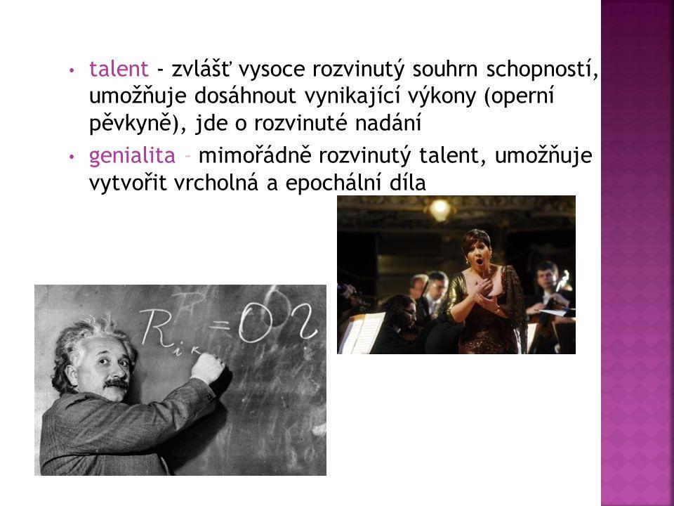 talent - zvlášť vysoce rozvinutý souhrn schopností, umožňuje dosáhnout vynikající výkony (operní pěvkyně), jde o rozvinuté nadání genialita - mimořádně rozvinutý talent, umožňuje vytvořit vrcholná a epochální díla