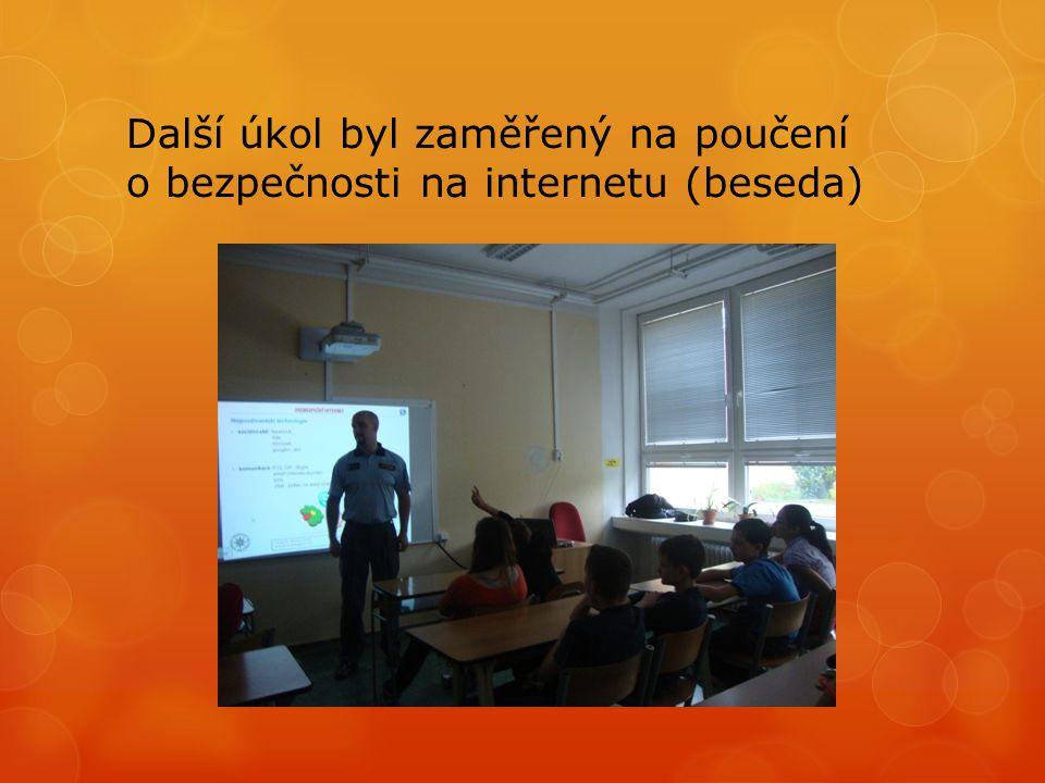 Další úkol byl zaměřený na poučení o bezpečnosti na internetu (beseda)