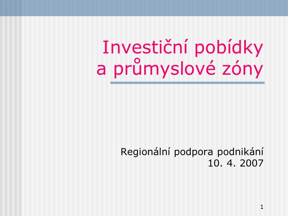 1 Investiční pobídky a průmyslové zóny Regionální podpora podnikání 10. 4. 2007