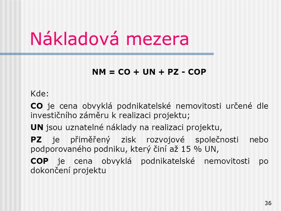 36 Nákladová mezera NM = CO + UN + PZ - COP Kde: CO je cena obvyklá podnikatelské nemovitosti určené dle investičního záměru k realizaci projektu; UN jsou uznatelné náklady na realizaci projektu, PZ je přiměřený zisk rozvojové společnosti nebo podporovaného podniku, který činí až 15 % UN, COP je cena obvyklá podnikatelské nemovitosti po dokončení projektu