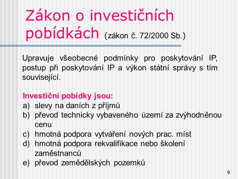 9 Zákon o investičních pobídkách ( zákon č. 72/2000 Sb.
