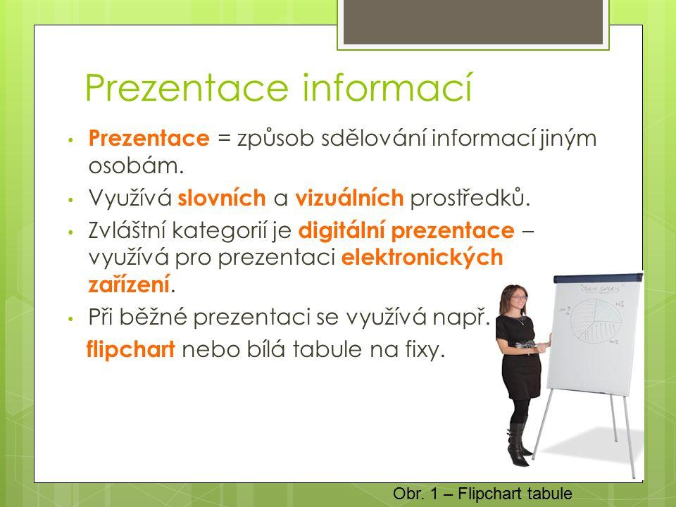 Prezentace informací Prezentace = způsob sdělování informací jiným osobám.