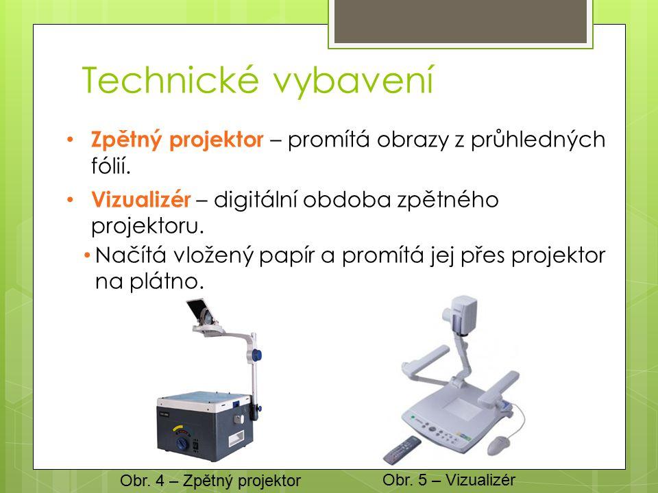 Technické vybavení Zpětný projektor – promítá obrazy z průhledných fólií.