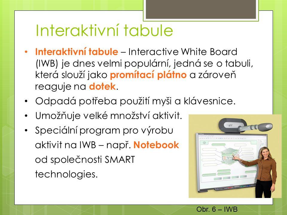 Interaktivní tabule Interaktivní tabule – Interactive White Board (IWB) je dnes velmi populární, jedná se o tabuli, která slouží jako promítací plátno a zároveň reaguje na dotek.