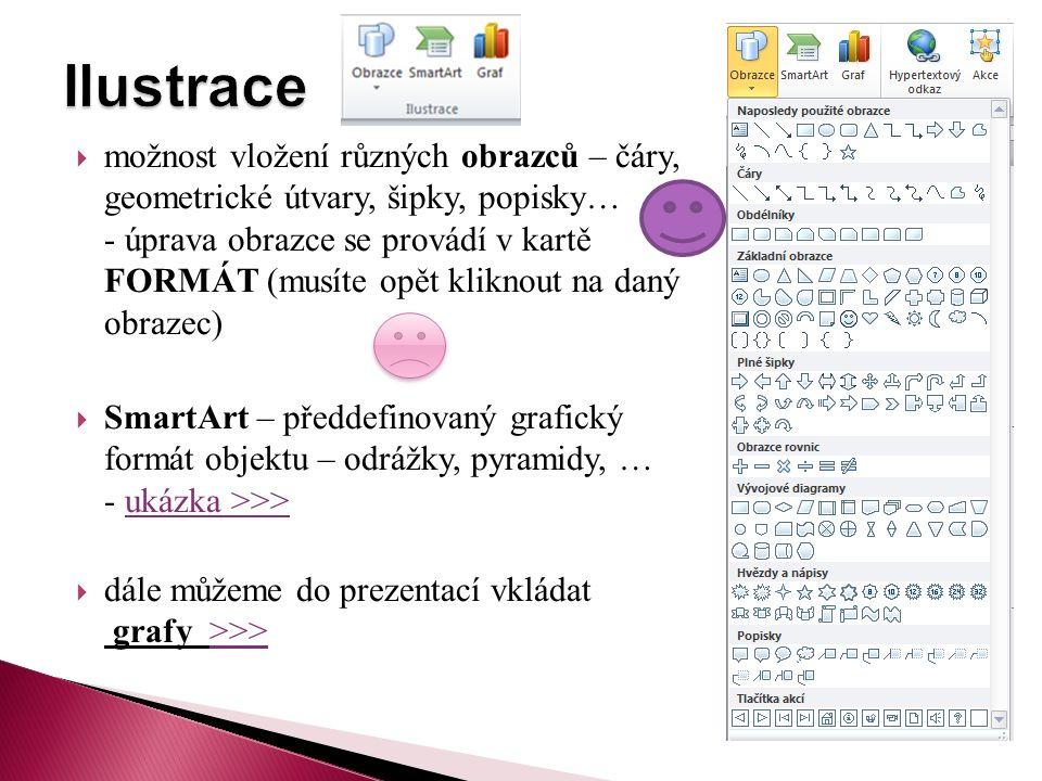  možnost vložení různých obrazců – čáry, geometrické útvary, šipky, popisky… - úprava obrazce se provádí v kartě FORMÁT (musíte opět kliknout na daný obrazec)  SmartArt – předdefinovaný grafický formát objektu – odrážky, pyramidy, … - ukázka >>>ukázka >>>  dále můžeme do prezentací vkládat grafy >>>>>>