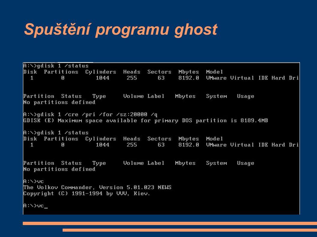 Spuštění programu ghost
