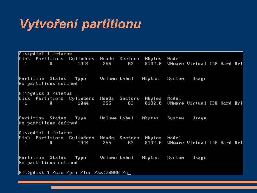 Vytvoření partitionu