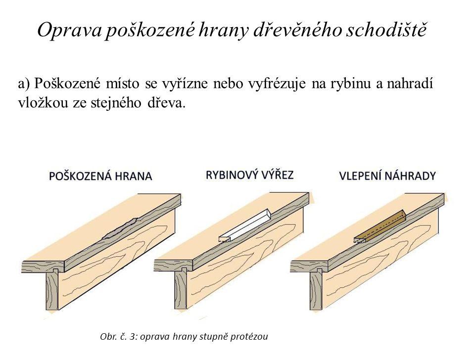 Oprava poškozené hrany dřevěného schodiště a) Poškozené místo se vyřízne nebo vyfrézuje na rybinu a nahradí vložkou ze stejného dřeva. Obr. č. 3: opra