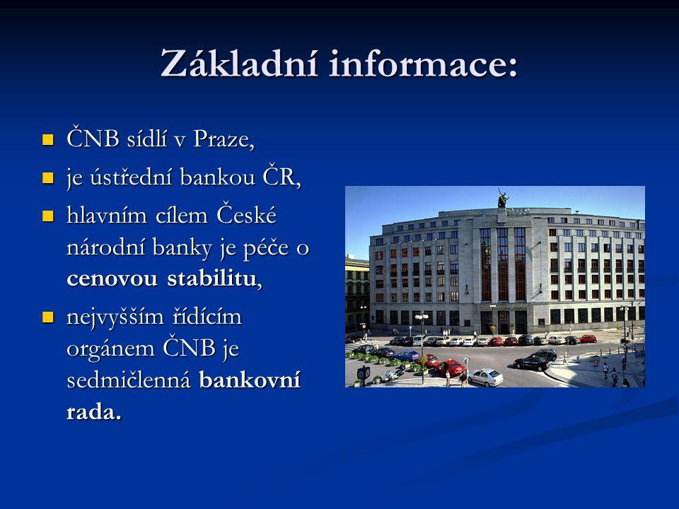 ČNB Hlavní úkoly, základní úrokové sazby, jejich vývoj, smysl a význam. Cílování inflace. Hlavní úkoly, základní úrokové sazby, jejich vývoj, smysl a