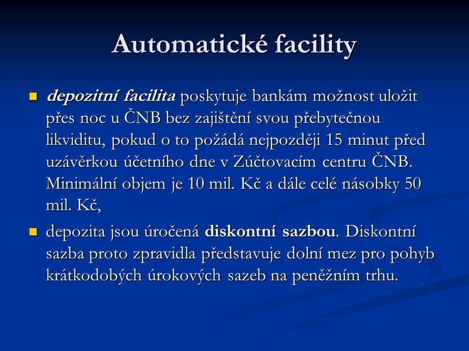 Automatické facility automatické facility slouží k poskytování nebo ukládání likvidity přes noc (overnight, O/N). Protože se z hlediska bank jedná o p