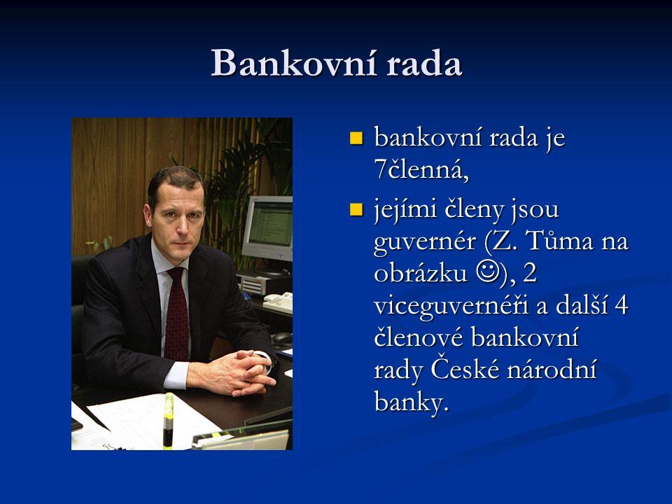 Bankovní rada bankovní rada je 7členná, jejími členy jsou guvernér (Z.