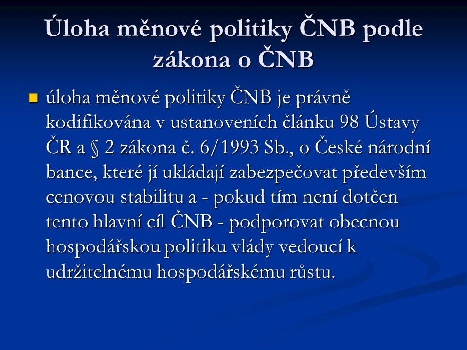 Úloha měnové politiky ČNB podle zákona o ČNB úloha měnové politiky ČNB je právně kodifikována v ustanoveních článku 98 Ústavy ČR a § 2 zákona č.
