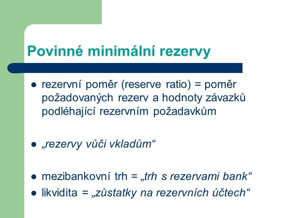 """Povinné minimální rezervy rezervní poměr (reserve ratio) = poměr požadovaných rezerv a hodnoty závazků podléhající rezervním požadavkům """"rezervy vůči vkladům mezibankovní trh = """"trh s rezervami bank likvidita = """"zůstatky na rezervních účtech"""