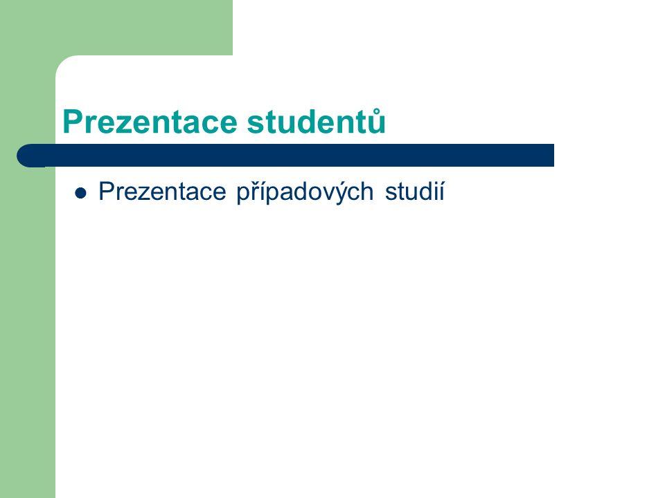 Prezentace studentů Prezentace případových studií