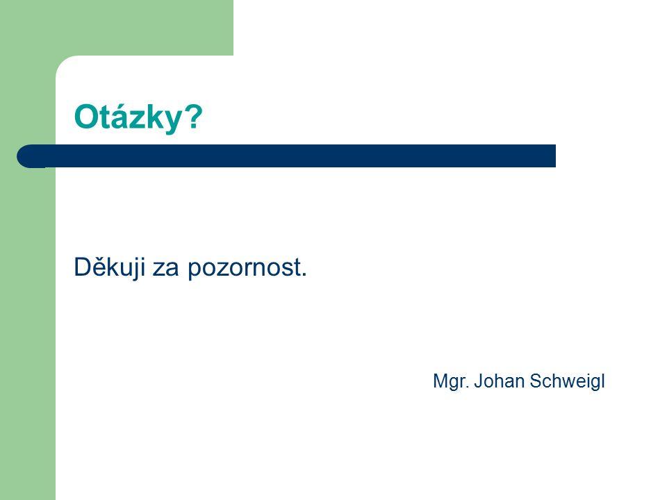 Otázky? Děkuji za pozornost. Mgr. Johan Schweigl