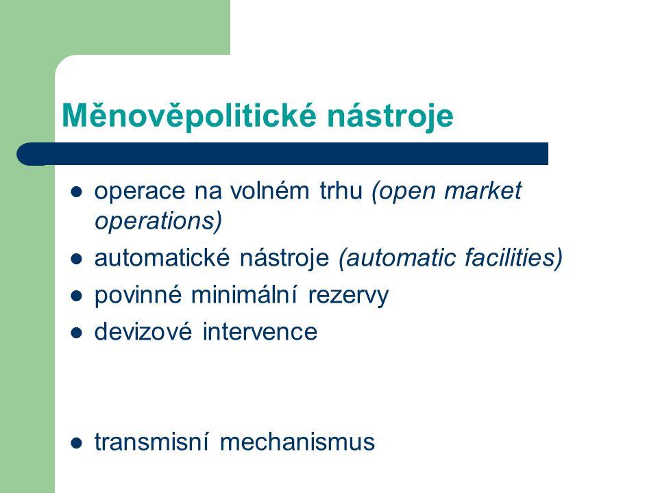 Měnověpolitické nástroje operace na volném trhu (open market operations) automatické nástroje (automatic facilities) povinné minimální rezervy devizov