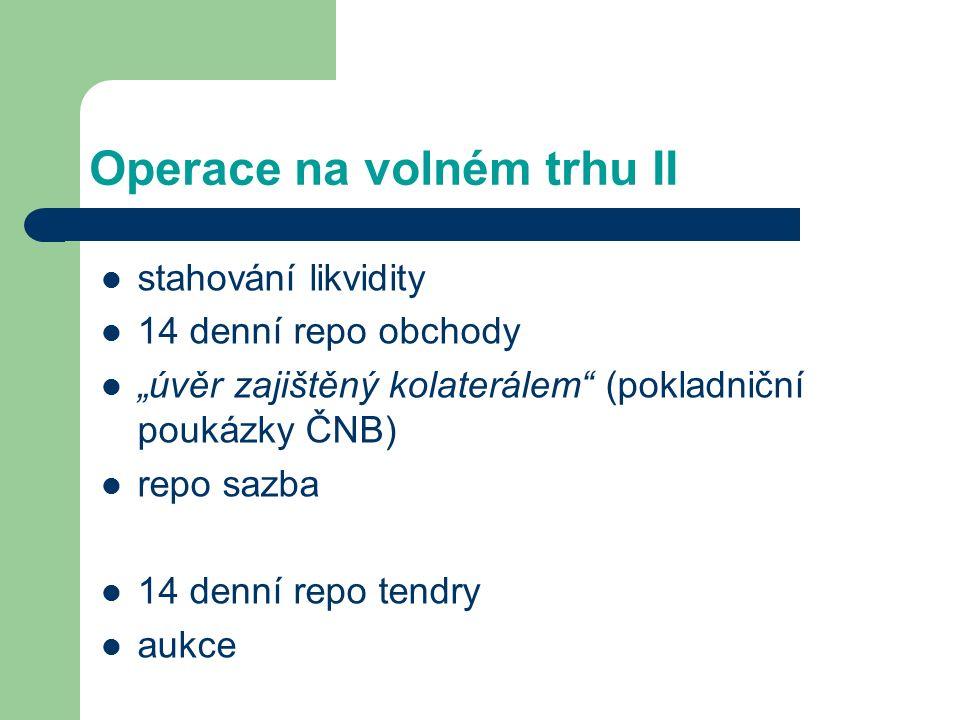 """Operace na volném trhu II stahování likvidity 14 denní repo obchody """"úvěr zajištěný kolaterálem"""" (pokladniční poukázky ČNB) repo sazba 14 denní repo t"""
