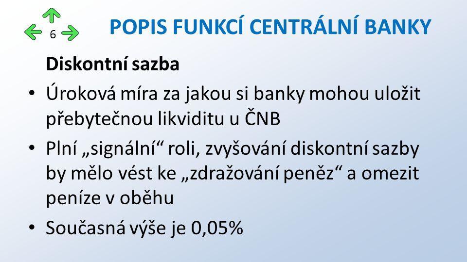"""Diskontní sazba Úroková míra za jakou si banky mohou uložit přebytečnou likviditu u ČNB Plní """"signální roli, zvyšování diskontní sazby by mělo vést ke """"zdražování peněz a omezit peníze v oběhu Současná výše je 0,05% POPIS FUNKCÍ CENTRÁLNÍ BANKY 6"""