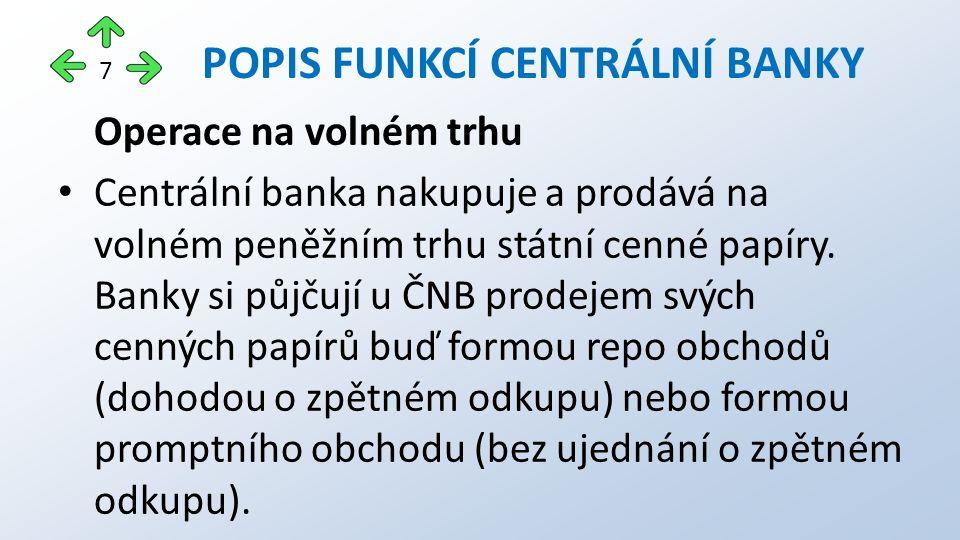Operace na volném trhu Centrální banka nakupuje a prodává na volném peněžním trhu státní cenné papíry.
