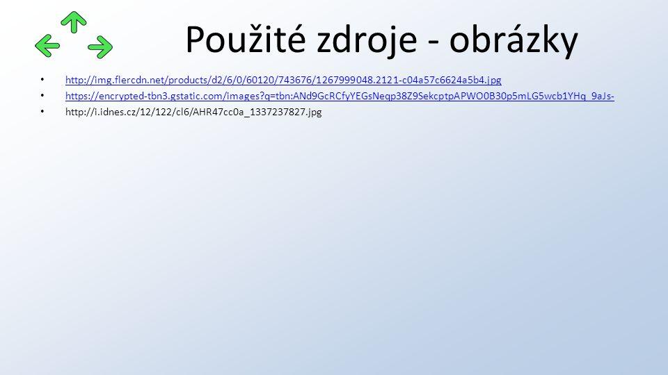 Použité zdroje - obrázky http://img.flercdn.net/products/d2/6/0/60120/743676/1267999048.2121-c04a57c6624a5b4.jpg https://encrypted-tbn3.gstatic.com/im