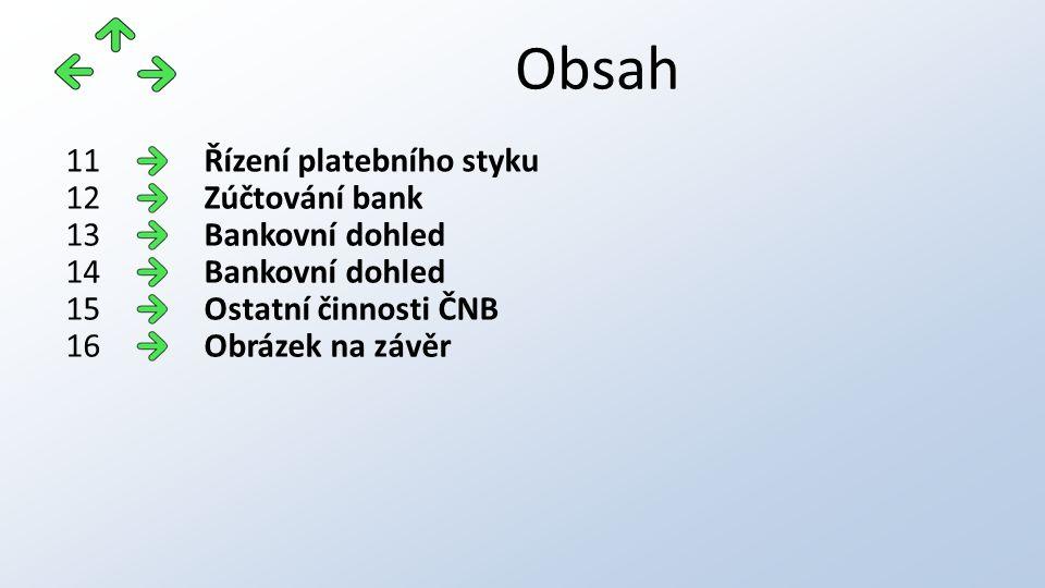 Obsah Řízení platebního styku11 Zúčtování bank12 Bankovní dohled13 Bankovní dohled14 Ostatní činnosti ČNB15 Obrázek na závěr16