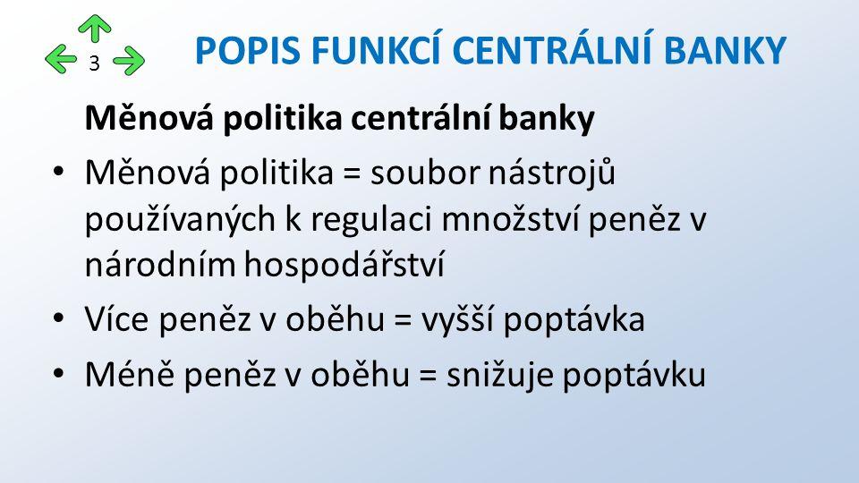 Měnová politika centrální banky Měnová politika = soubor nástrojů používaných k regulaci množství peněz v národním hospodářství Více peněz v oběhu = vyšší poptávka Méně peněz v oběhu = snižuje poptávku POPIS FUNKCÍ CENTRÁLNÍ BANKY 3