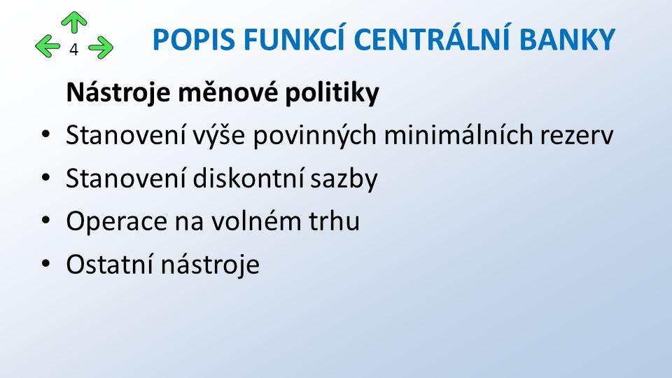 Nástroje měnové politiky Stanovení výše povinných minimálních rezerv Stanovení diskontní sazby Operace na volném trhu Ostatní nástroje POPIS FUNKCÍ CENTRÁLNÍ BANKY 4