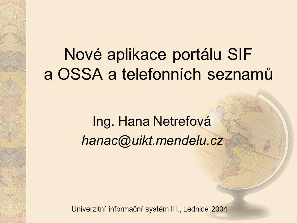 12 Univerzitní informační systém III., Lednice 2004 Další vývoj aplikací II Telefonní seznam (velký) případné doladění stylu pro tiskový výstup dle našich požadavků a ohlasu uživatelů otázka, co s knižním telefonním seznamem: lze automatizovat.