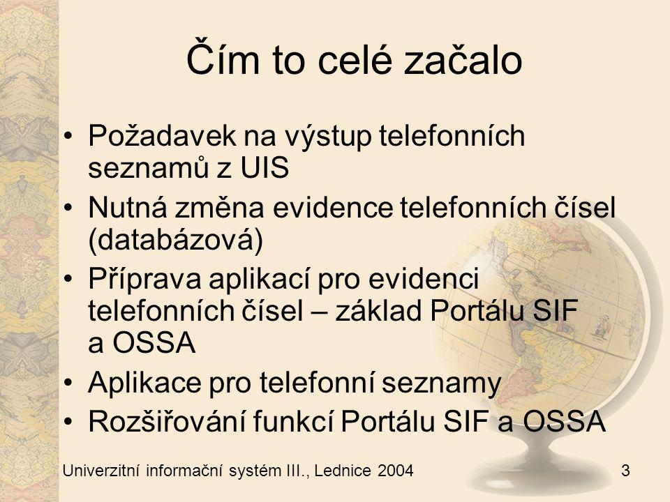 4 Univerzitní informační systém III., Lednice 2004 Evidence telefonních čísel I Pro generování klapkových telefonních seznamů nutná změna evidence telefonních čísel Původní evidence telefonů: atribut u uživatele, tel.