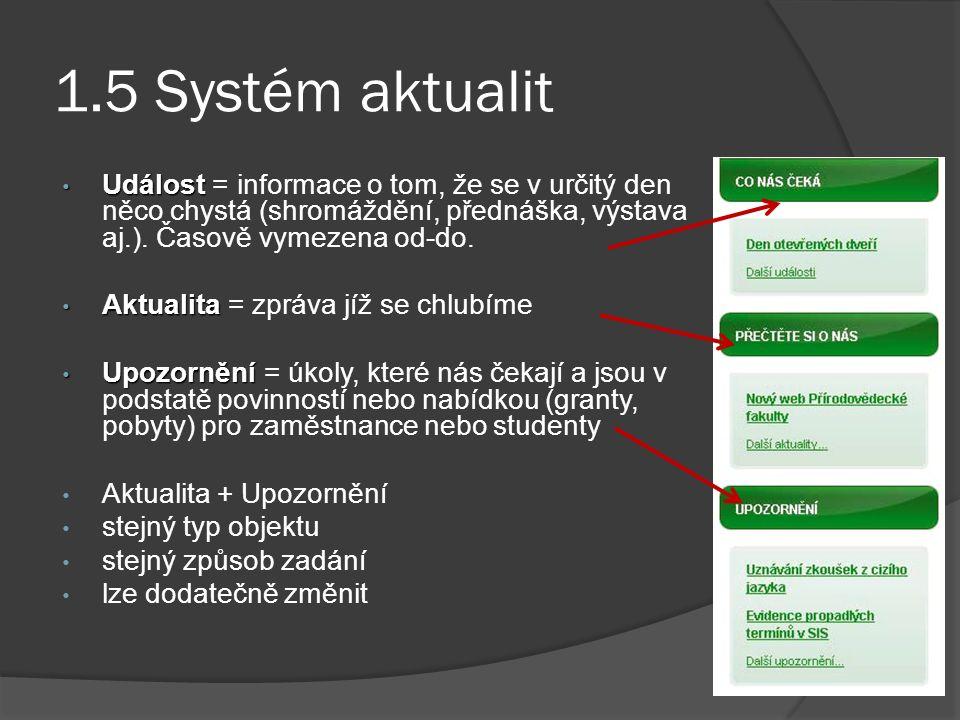 1.5 Systém aktualit Událost Událost = informace o tom, že se v určitý den něco chystá (shromáždění, přednáška, výstava aj.).