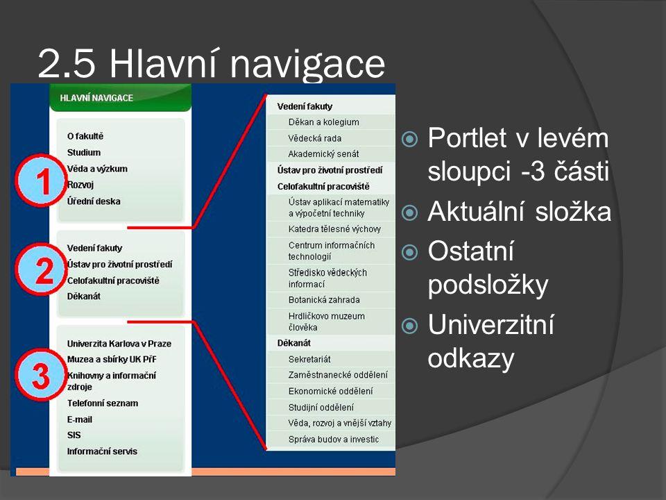 2.5 Hlavní navigace  Portlet v levém sloupci -3 části  Aktuální složka  Ostatní podsložky  Univerzitní odkazy