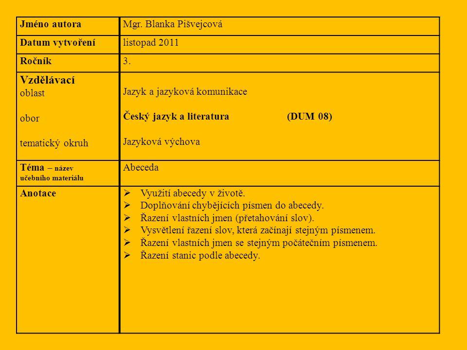 Jméno autoraMgr. Blanka Pišvejcová Datum vytvořenílistopad 2011 Ročník3. Vzdělávací oblast obor tematický okruh Jazyk a jazyková komunikace Český jazy