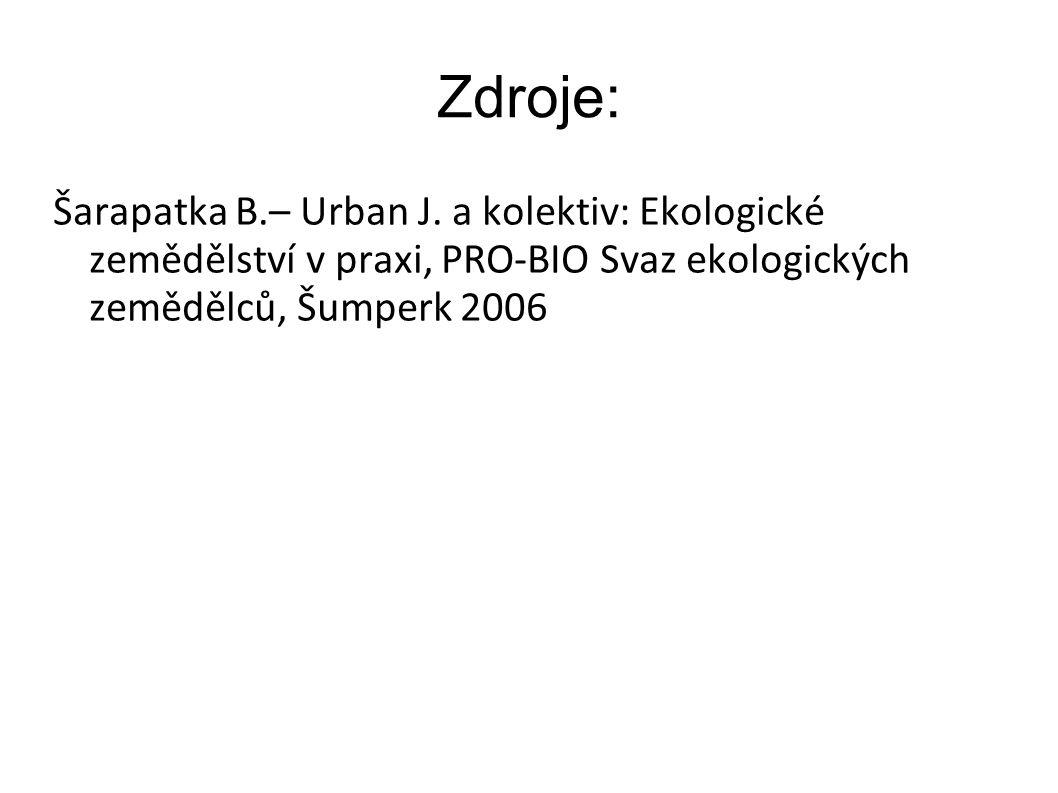Zdroje: Šarapatka B.– Urban J. a kolektiv: Ekologické zemědělství v praxi, PRO-BIO Svaz ekologických zemědělců, Šumperk 2006